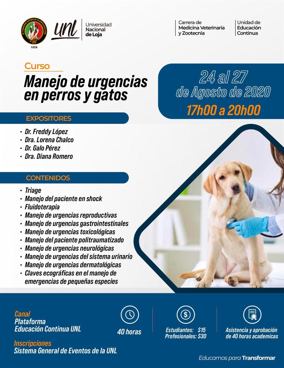 Manejo de urgencias en perros y gatos